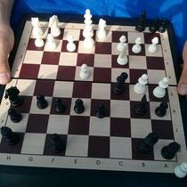 Während die anderen Sport gemacht haben, habe ich schön Schach in der Sonne gespielt :)