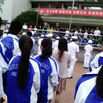 Nächste Woche ist Gao Kao, die chinesische Abschlussprüfung. Extra dafür gab es bei der wöchentlichen Morgenversammlung eine Art Motivationsveranstaltung...