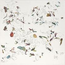 Kristin Finsterbusch, Sammlung 1b, Tiefdruck, vernis mou, Farbstift, 2013, 30 x 30 cm