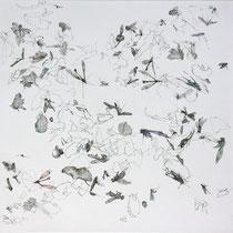 Kristin Finsterbusch, Sammlung 1f, Tiefdruck, vernis mou, Farbstift, 2013, 30 x 30 cm