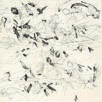 Kristin Finsterbusch, Sammlung 3 a, Tiefdruck, vernis mou, Farbstift, 2013, 30 x 30 cm