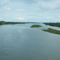 View of Tone River from crossing bridge