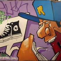 "CONVERSE ""Just Add Color"" campain - JEAN ROOBLE - Spraypaint on wall (3 x 4 m) - Bordeaux, 2012"