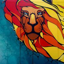 Faya! for REGGAE SUN SKA Festival - ODEG X JEAN ROOBLE - Spraypaint on PVC (3 x 6 m) - Pauillac, 2013