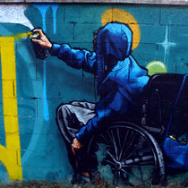 Struggle for life (detail) - JEAN ROOBLE - Spraypaint on wall (2,2 x 2 m) - Talence, 2010