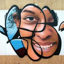 LFC Face - JEAN ROOBLE - Spraypaint on wood (3 x 5 m) - for Institut Culturel Bernard Magrez & Bordeaux Fête le Vin - Bordeaux, 2018