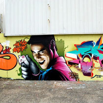 The Mad Scientist - GAMER X EPIS X JEAN ROOBLE X NERONE X KEMS - Spraypaint on wall - Mérignac, 2013