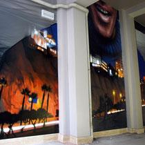 Callao to Miraflores - JEAN ROOBLE - Spraypaint on wall - 5 x 12 m - Hostel Romehello - Rome, 2017