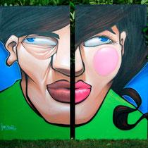Festival PLAY #3 - JEAN ROOBLE - Spraypaint on wood (2.50 x 2.50 m) - Gradignan, 2013