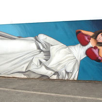 Niñas With Attitude - JEAN ROOBLE - Spraypaint on wall - 3 x 12 m - for Q20 parcours & Vibrations Urbaines - Pessac (2017)