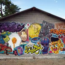 Street Art'Magnac - GASPAR X ODEG X JEAN ROOBLE + JONE & KASHINK - Spraypaint on wall (4 x 9m) - Eauze (2015)