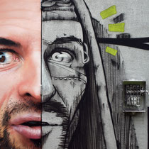 Mr Landry & Dr Nar (detail) - JEAN ROOBLE - Spraypaint on wall (4 x 11 m) - Festival Label Valette - Pressigny-Les-Pins (2018)