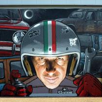 LA VERA VITA D'ULDERICO (detail) - Filippo Mozone X Jean Rooble - Spraypaint and acrylic on wall - 7,10 x 9,70 m - Festival Shakewell #3 - Pessac, 2018