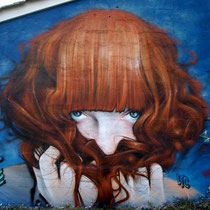 Roux/Bleu (détail) - JEAN ROOBLE - Spraypaint on wall (3 x 3 m) - Talence (2016)