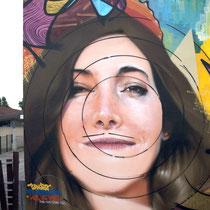 Diana Rozza Bonheur  (détail)- JEAN ROOBLE - Spraypaint on wall (5 x 5 m) - Hors Les Murs Project - Ambarès-Et-Lagrave (2016)