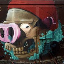 Bernadeath - JEAN ROOBLE & GASPAR - Spraypaint on wall (3 x 4 m) - Bordeaux, 2014