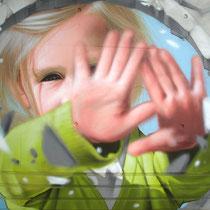 Blow (détail) - JEAN ROOBLE - Spraypaint on wall - 5 x 10 m - for Le Mur du Souffle - Bruges (2017)
