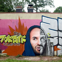Mr Landry & Dr Nar - JEAN ROOBLE - Spraypaint on wall (4 x 11 m) - Festival Label Valette - Pressigny-Les-Pins (2018)