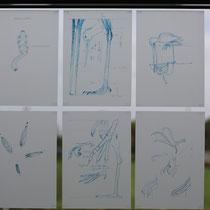 Die Konstruktionszeichnungen am Fester zum Hafen