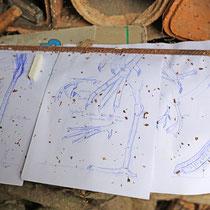 Die Skizze für den riesigen Watvogel