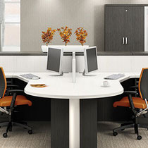 modern office furniture: gray and white commercial professional dual workstation with orange chairs