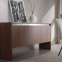 modern 3-door walnut wood buffet sideboard with metal accents
