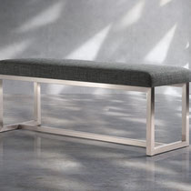 canadian modern gray fabric bench with brushed steel base