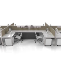 modern office furniture, white and gray professional commercial multi workstation