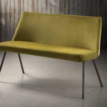 canadian modern green fabric bench with painted metal legs