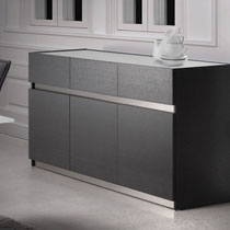 modern 3-door dark wood buffet cabinet with glass top and metal accents