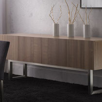 modern 4-door natural wood buffet sideboard with metal base