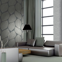 gray leaf-pattern modern italian textured wallpaper