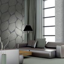 gray leaf-pattern modern italian textured wallpaper