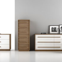 modern dresser, chest and nightstand with wood frame and lacquer drawers