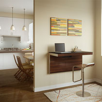 modern walnut wood with glass top hanging wall desk