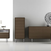 modern dresser, chest and nightstand with wood frame and metal legs