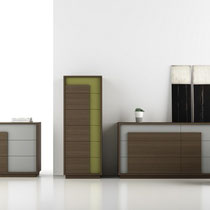 modern dresser, chest and nightstand gray or green laqcuer with wood frame