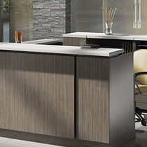 modern office furniture: professional commercial reception desk and storage system, wood with lacquer top