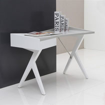 glossy white and gray lacquer modern desk