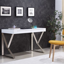 white modern desk with brushed metal base