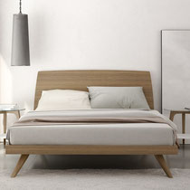 modern platform bed with wood headboard abd base