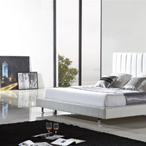 modern white faux leather platform bed