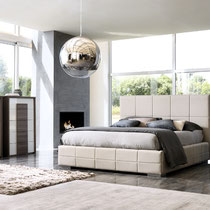 modern light gray leather platform bed