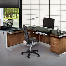 modern walnut wood desk with return and black glass top, walnut wood mobile file pedestal