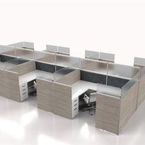 modern office furniture: white and natural wood professional commercial multi workstation