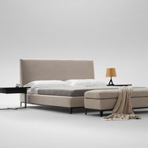 modern upholstered platform bed with metal legs