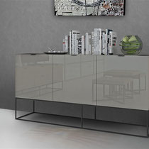 light gray glossy lacquer, 3-door modern buffet cabinet