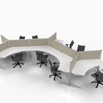 modern office furniture: light gray professional commercial multi workstation