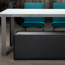 canadian modern gray textured fabric bench with brushed steel base, modern brushed steel dining table with glass top, blue fabric dining chairs