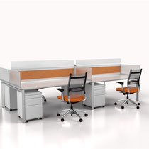modern office furniture: white and orange professional commercial multi workstation with orange mesh back chairs